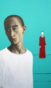 Reedetud. 2008. Akrüül lõuendil. / Betrayed. Acrylic on canvas, 120 x 60 cm