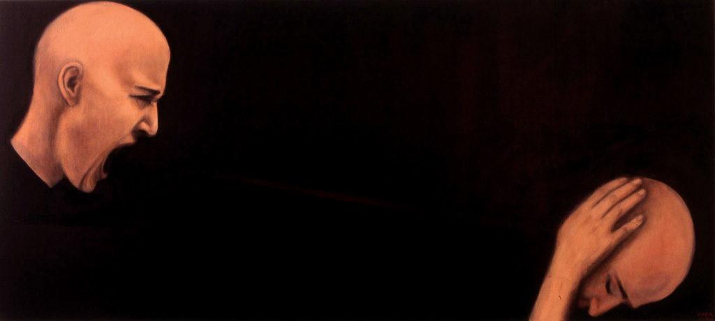 Psühhoterror. 2007. Õli lõuendil. / Psychoterror. Oil on canvas, 180 x 60 cm