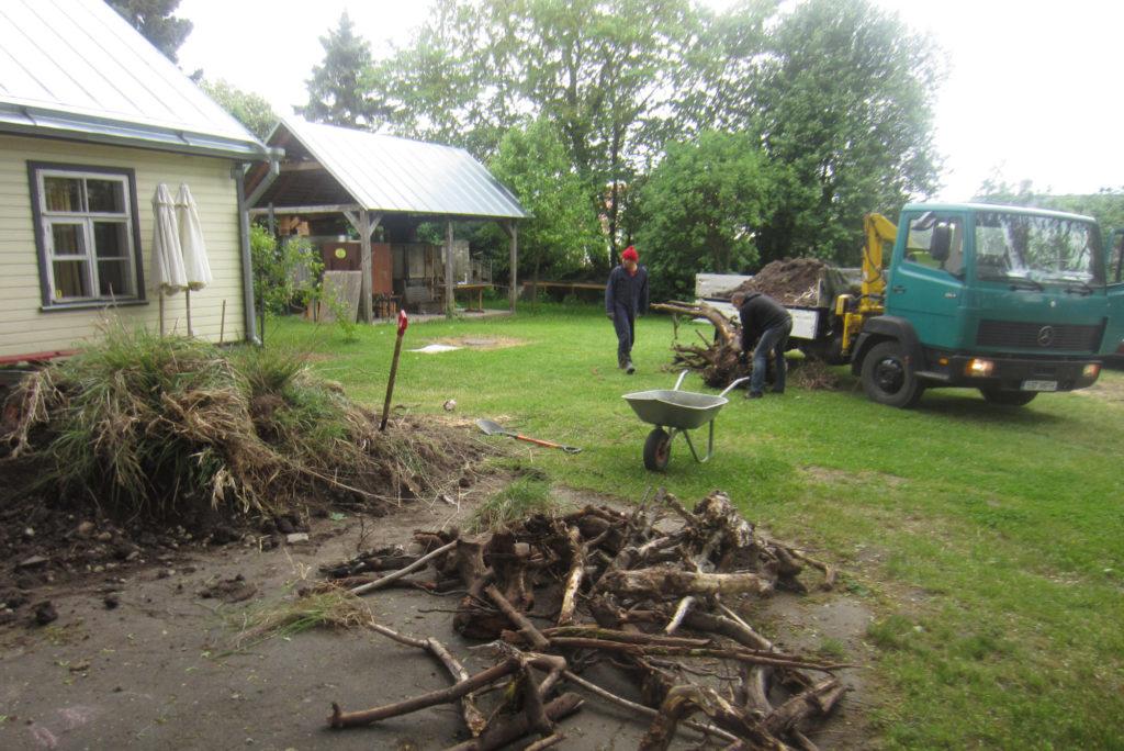Ott Kdarik juhendab kuhu asetada muuseumi õue tellitud muld ja juurikad