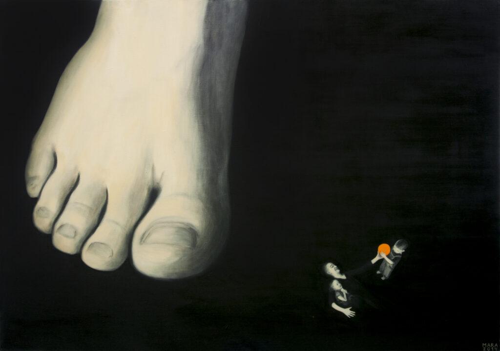 14. Kahevahel, õli lõuendil, 2014 a., 137 x 195 cm.