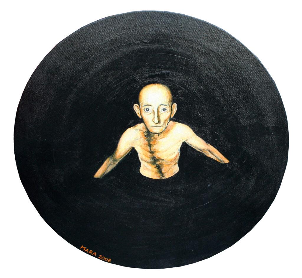 6. Enesehaletsuse vang,2008, akrüül lõuendil, diam. 50 cm
